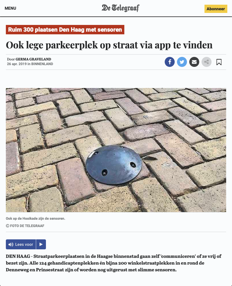 Screenshot of Telegraaf article featuring Parking Hero App